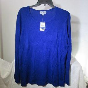 JM Collection Women's XXL Blue Long Sleeve shirt.